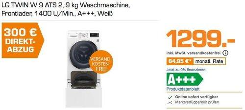 LG TWIN W 9 ATS 2, 9 kg Waschmaschine, Frontlader, 1400 U/Min., A+++ - jetzt 20% billiger