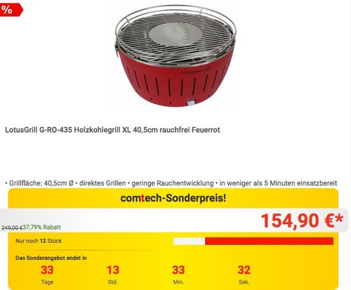 LotusGrill G-RO-435 Holzkohlegrill XL 40,5cm - jetzt 16% billiger