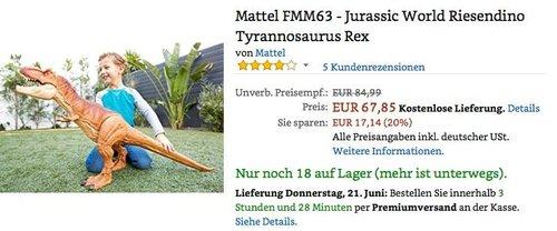 Mattel FMM63 - Jurassic World Riesendino Tyrannosaurus Rex - jetzt 14% billiger
