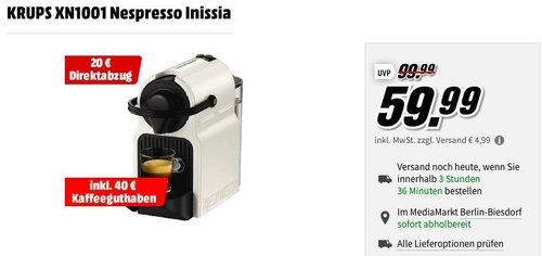 MediaMarkt 20€ Direktabzug auf  Nespresso Kapselmaschinen: KRUPS XN1001 Nespresso Inissia - jetzt 33% billiger