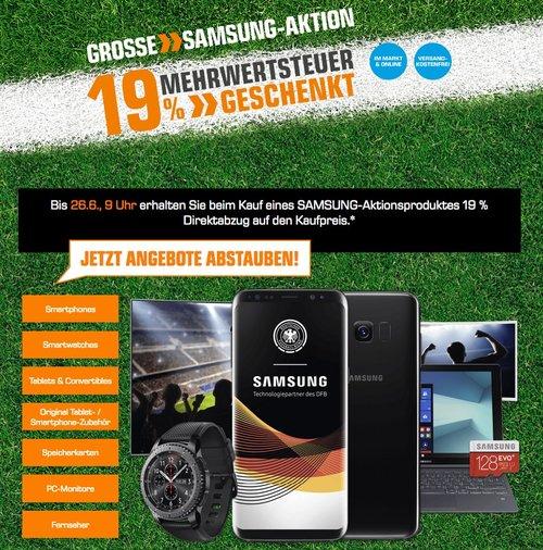 Saturn-Aktion: 19% MwSt geschenkt auf Samsung Produkte - z.B. SAMSUNG Evo Plus 128 GB Micro-SDXC Speicherkarte, 100 MB/s - jetzt 19% billiger