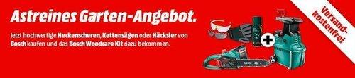 MediaMarkt Bosch-Aktion:  z.B. BOSCH AXT 25 TC Leisehäcksler + BOSCH Woodcare Kit Gartenpflege-Set gratis - jetzt 4% billiger