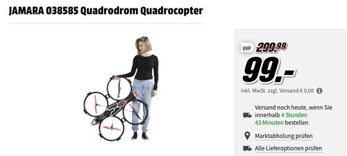 MediaMarkt Drohnen-Aktion: JAMARA 038585 Quadrodrom Quadrocopter - jetzt 39% billiger