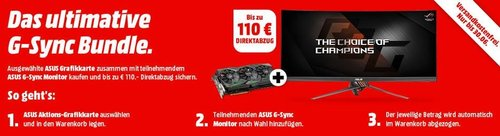 MediaMarkt G-Sync Bundle - Aktion : ASUS PG278QR 27 Zoll WQHD Gaming Monitor + ASUS GeForce® GTX 1070Ti ROG Strix 8GB Gaming Grafikkarte - jetzt 9% billiger