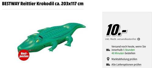 MediaMarkt Restposten - Aktion: z.B. BESTWAY Schwimmtier/Reittier Krokodil ca. 203x117 cm - jetzt 50% billiger