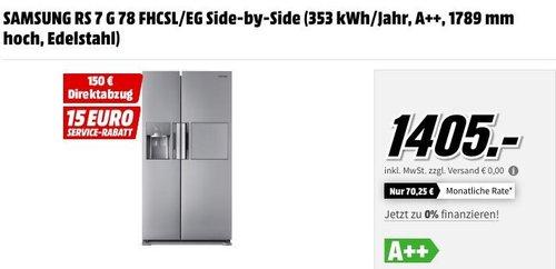MediaMarkt Samsung-Superdeals: Samsung RS7G78FHCSL/EG Side-by-Side Kühlschrank - jetzt 11% billiger
