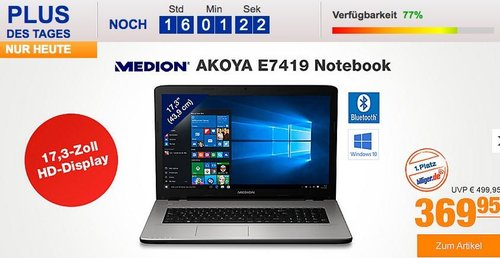 "MEDION® AKOYA® E7419, Intel® Celeron™ 3855U, 17,3""HD Display, 4 GB RAM, 500 GB HDD, Windows 10 Home Notebook - jetzt 9% billiger"