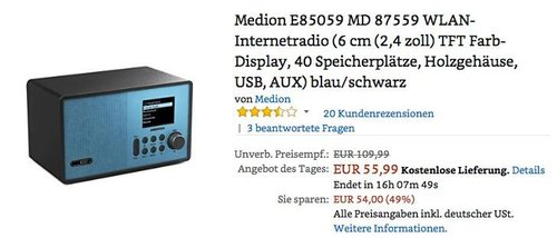 Medion E85059 MD 87559 WLAN-Internetradio blau - jetzt 20% billiger