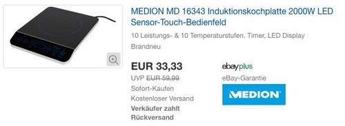 MEDION MD 16343 Induktionskochplatte 2000W - jetzt 33% billiger