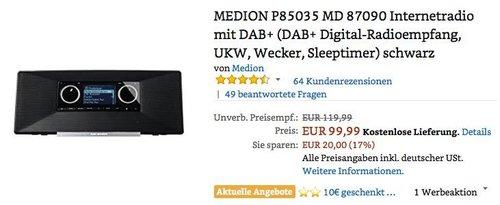 MEDION P85035 MD 87090 Internetradio mit DAB+ schwarz - jetzt 10% billiger