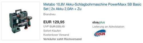 Metabo 10,8V Akku-Schlagbohrmaschine PowerMaxx SB Basic Set | 2x Akku 2,0Ah + Zubehör - jetzt 24% billiger