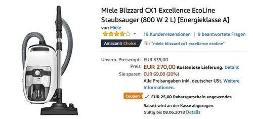 Miele Blizzard CX1 Excellence EcoLine Staubsauger - jetzt 9% billiger