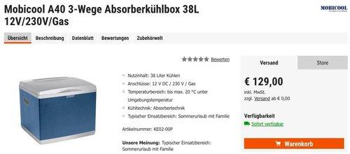 Mobicool A40 3-Wege Absorberkühlbox 38L 12V/230V/Gas - jetzt 13% billiger