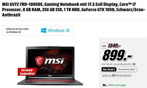 MSI GV72 7RD-1005DE Gaming Notebook (17.3 Zoll Display, Core™ i7 Prozessor, 8 GB RAM, 256 GB SSD, 1 TB HDD, GeForce GTX 1050, Win10) - jetzt 10% billiger