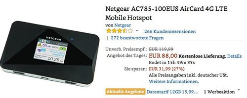 Netgear AC785-100EUS AirCard 4G LTE Mobile Hotspot - jetzt 27% billiger