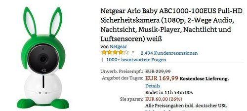 Netgear Arlo Baby ABC1000-100EUS Full-HD Sicherheitskamera - jetzt 19% billiger