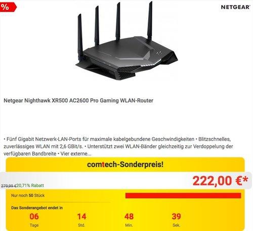 Netgear Nighthawk XR500 AC2600 Pro Gaming WLAN-Router - jetzt 14% billiger