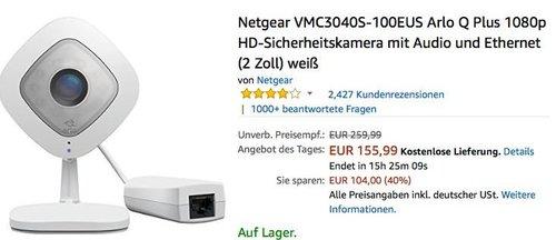 Netgear VMC3040S-100EUS Arlo Q Plus 1080p HD-Sicherheitskamera mit Audio und Ethernet - jetzt 29% billiger