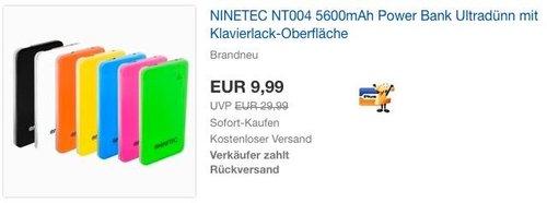 NINETEC NT004 5600mAh Power Bank - jetzt 50% billiger