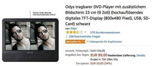 Odys tragbarer DVD-Player mit zusätzlichem Bildschirm 23 cm (9 Zoll) - jetzt 22% billiger
