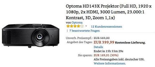 Optoma HD143X Projektor (Full HD, 1920 x 1080p, 2x HDMI, 3000 Lumen, 23.000:1 Kontrast, 3D, Zoom 1,1x) - jetzt 18% billiger