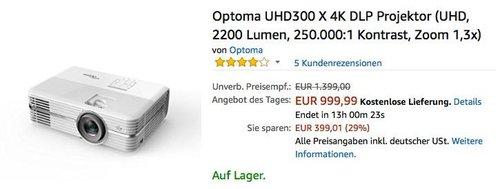Optoma UHD300 X 4K DLP Projektor - jetzt 17% billiger