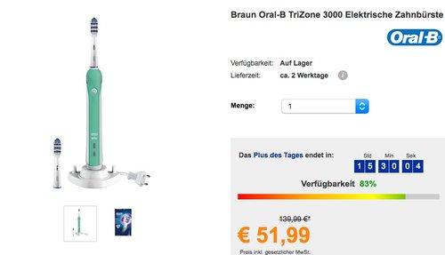 Oral-B TriZone 3000 Elektrische Zahnbürste, mit Timer und zwei TriZone Aufsteckbürsten - jetzt 16% billiger
