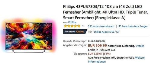 Philips 43PUS7303/12 108 cm (43 Zoll) 4K LED-Fernseher mit 3-seitigem Ambilight - jetzt 20% billiger