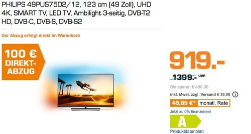Philips 49PUS7502/12 123cm (49 Zoll) Ambilight LED-Fernseher - jetzt 9% billiger