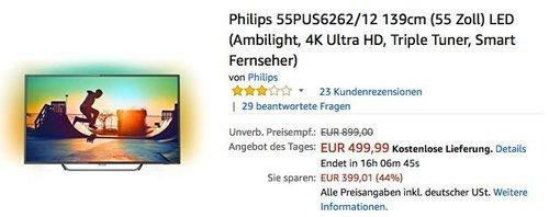 Philips 55PUS6262/12 139cm (55 Zoll) Ambilight LED 4K Fernseher - jetzt 10% billiger