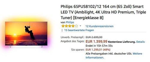 Philips 65PUS8102/12 164 cm (65 Zoll) Ambilight 4K Ultra HD Premium Smart LED TV - jetzt 7% billiger