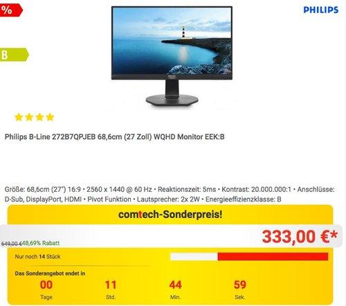 Philips B-Line 272B7QPJEB 68,6cm (27 Zoll) WQHD Monitor - jetzt 13% billiger