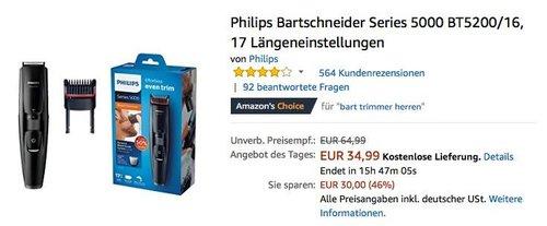 Philips Bartschneider Series 5000 BT5200/16 - jetzt 13% billiger