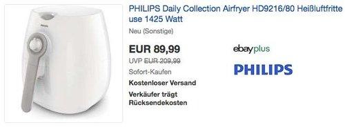 PHILIPS Daily Collection Airfryer HD9216/80 Heißluftfritteuse 1425 Watt - jetzt 24% billiger