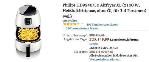 Philips HD9240/30 Airfryer XL Heißluftfritteuse weiß - jetzt 16% billiger