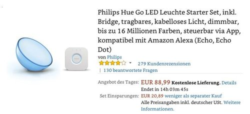 Philips Hue Go LED Leuchte Starter Set, inkl. Bridge - jetzt 23% billiger