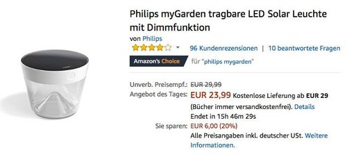 Philips myGarden tragbare LED Solar Leuchte - jetzt 20% billiger