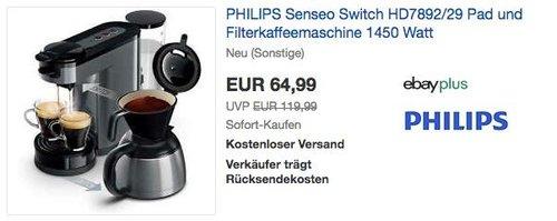 PHILIPS Senseo Switch HD7892/29 Pad und Filterkaffeemaschine 1450 Watt - jetzt 23% billiger