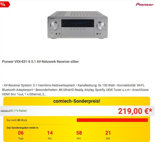 Pioneer VSX-831-S 5.1 AV-Netzwerk Receiver silber - jetzt 11% billiger