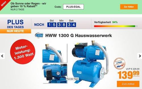 plus.de Onlineshop: 10% Rabatt auf fast alles - Güde HWW 1300 G Hauswasserwerk - jetzt 22% billiger