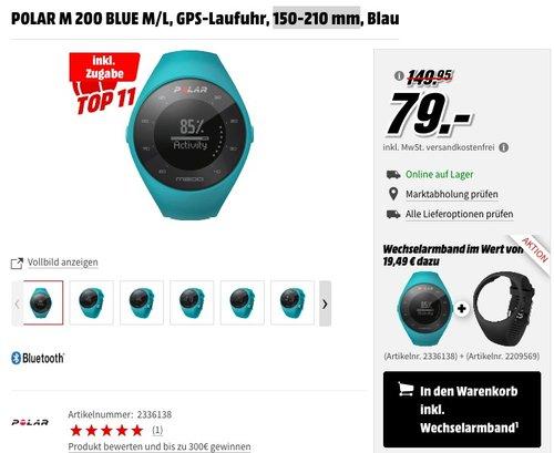 POLAR M 200 BLUE M/L, GPS-Laufuhr, 150-210 mm - jetzt 34% billiger