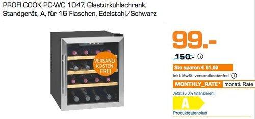 PROFI COOK PC-WC 1047, Glastürkühlschrank/Weinkühlschrank - jetzt 34% billiger