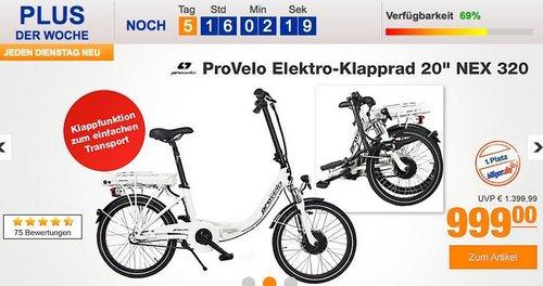"""ProVelo Elektro-Klapprad 20"""" NEX 320, 7 Gang Nabenschaltung - jetzt 18% billiger"""