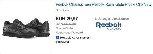 Reebok Herren Royal Glide Ripple Clip Sneaker Schwarz - jetzt 42% billiger
