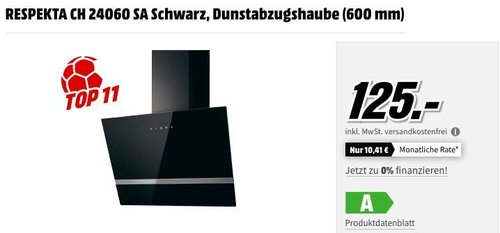 RESPEKTA CH 24060 SA Dunstabzugshaube, Schwarz (600 mm) - jetzt 22% billiger