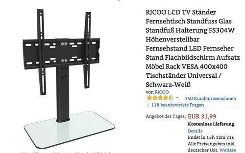 RICOO LCD TV Ständer Fernsehtisch Standfuß Glas bis 55 Zoll - jetzt 20% billiger