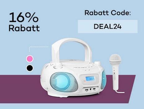 Roadie Sing CD Boombox in Weiß, Schwarz oder Pink - jetzt 16% billiger