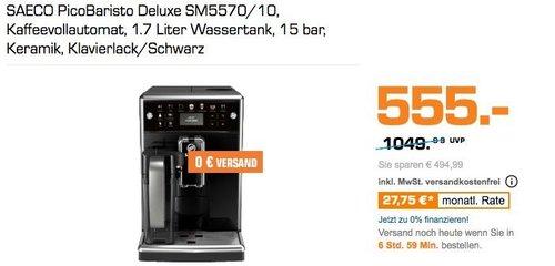 SAECO PicoBaristo Deluxe SM5570/10 Kaffeevollautomat, schwarz - jetzt 31% billiger