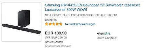 Samsung HW-K450/EN Soundbar mit Subwoofer - jetzt 7% billiger