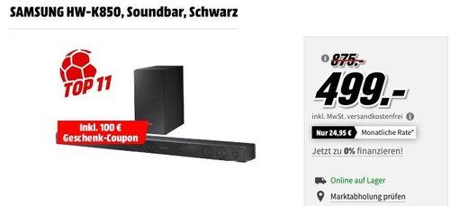 SAMSUNG HW-K850Soundbar inkl. 100€ Geschenk-Coupon - jetzt 17% billiger